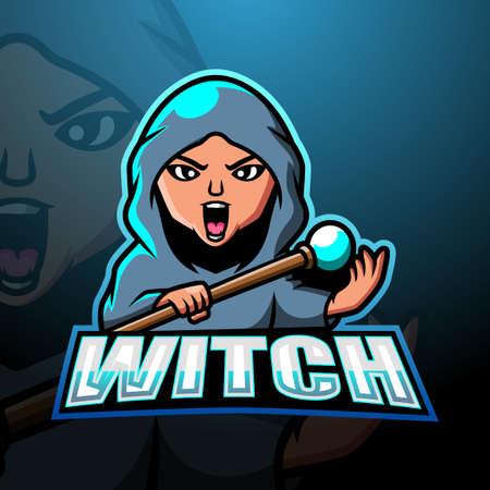 Witch mascot esport logo design Çizim