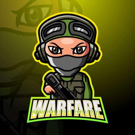 Warfare mascot esport logo design Çizim