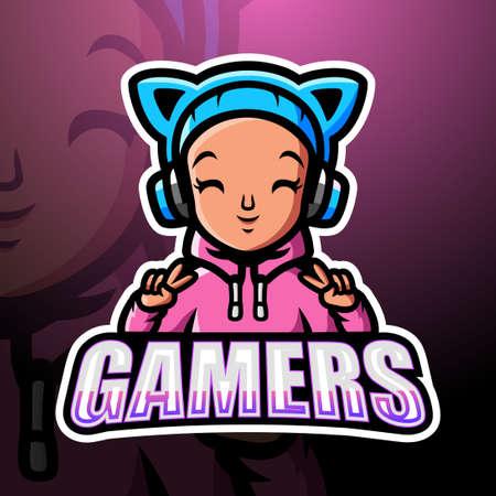 Gamer girl mascot esport logo design Çizim