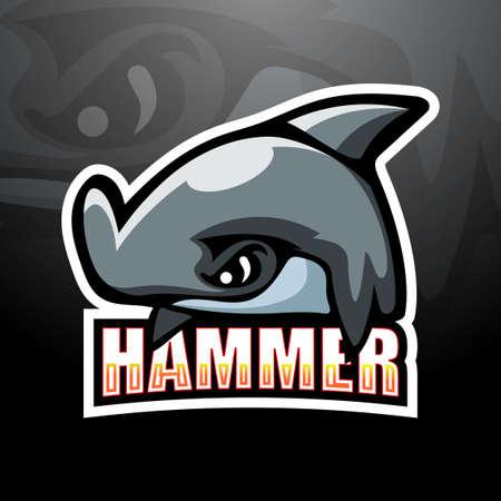 Hammerhead shark mascot esport logo design Çizim
