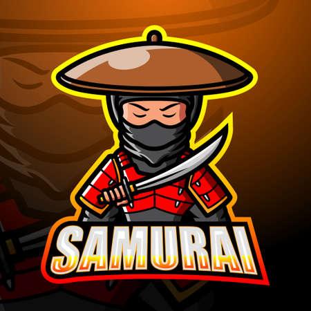 Samurai mascot esport logo design Çizim