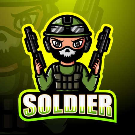 Soldier mascot esport design Иллюстрация