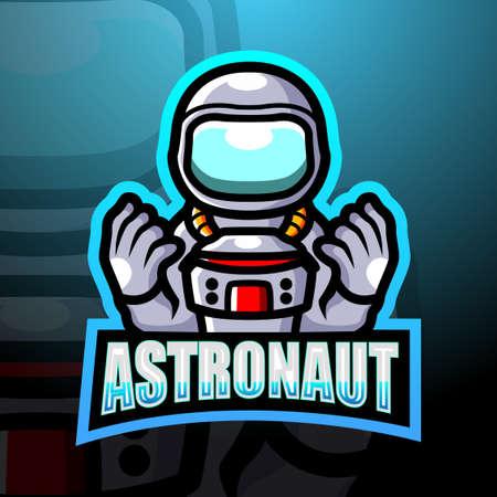 Astronaut mascot esport design Çizim