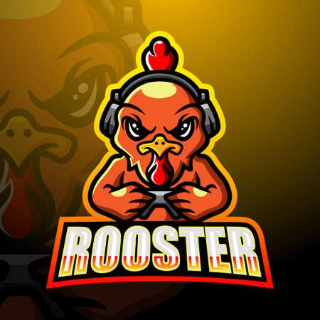 Gamer rooster mascot esport logo design 向量圖像
