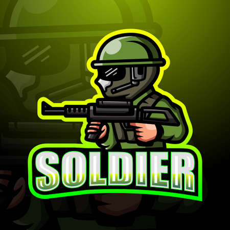 Soldier mascot esport logo design