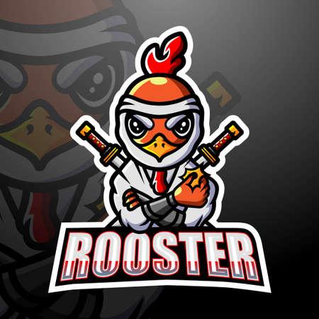 Samurai rooster mascot esport logo design 向量圖像