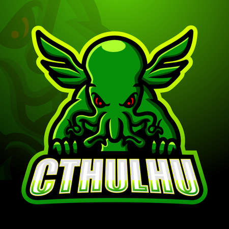 Green cthulhu mascot esport logo design