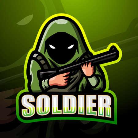 Soldier mascot esport logo design