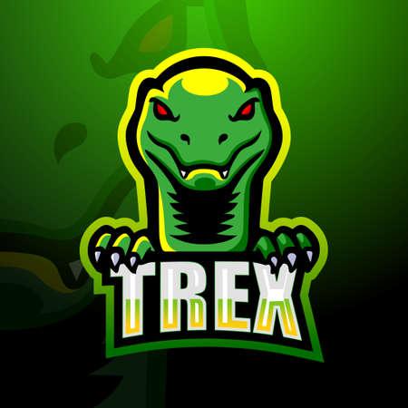 Dinosaur t-rex mascot logo design Ilustração