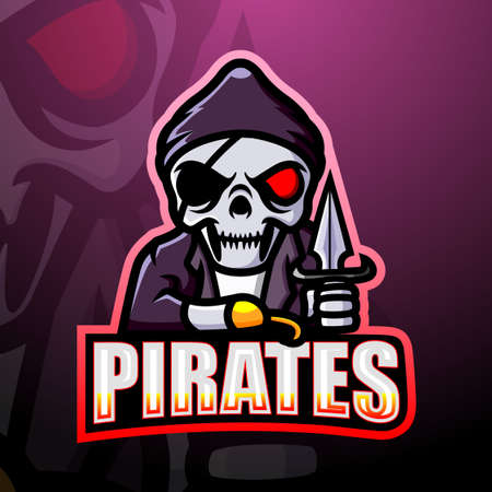 Pirate skull esport mascot logo design