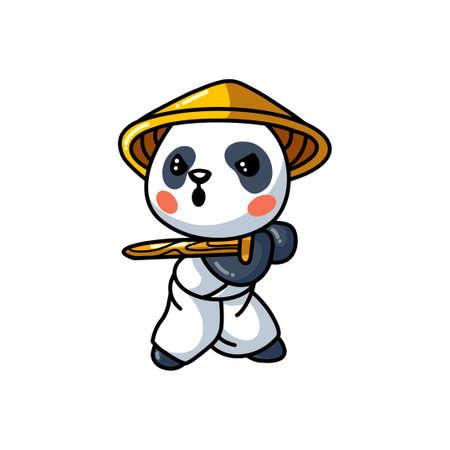 Cute little samurai panda cartoon Ilustração Vetorial