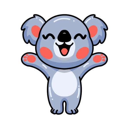 Cute baby koala cartoon raising hands Vector Illustration