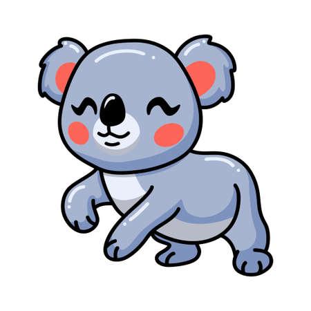 Cute happy baby koala cartoon Vector Illustration