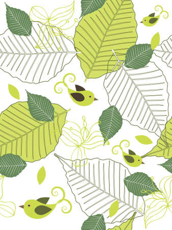 Seamless floral background with leaves and birds. Easy to edit vector image. Illustration