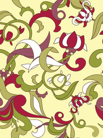 Seamless background with abstract floral elements. Easy to edit vector image. Ready to use as swatch. Vector
