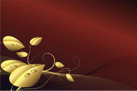 Dark red background with golden leaves.  Stock Photo - 6782601