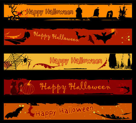 Collection of Halloween banners.