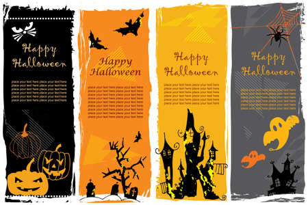 Collection of Halloween banners.  photo