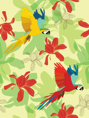birds of paradise: Seamless flower background with birds