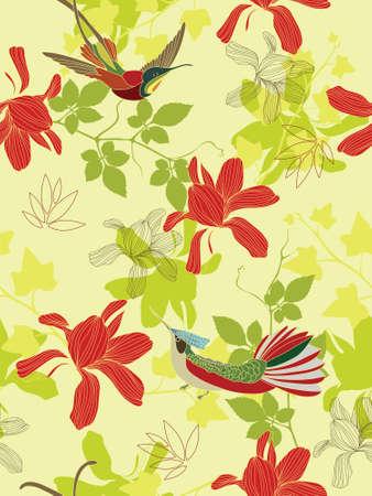 Seamless flower background with birds photo