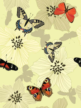 Seamless flower background with butterflies. Ready to use as swatch. Stock Photo