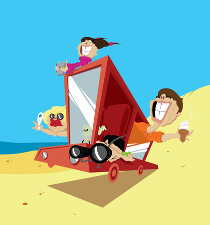 Illustration of an excited family on their way to a holiday destination. Vector