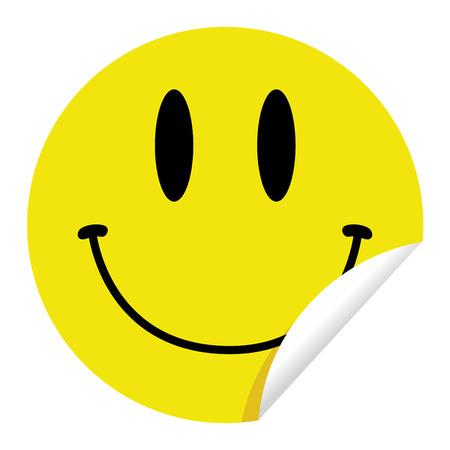 autocollant: Autocollant brillant, jaune avec un dessin de visage smiley sur elle.