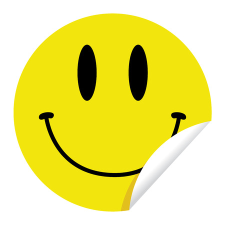 round face: Bright, yellow sticker with a smiley face design on it.