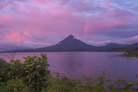 Breathtaking sunset on Lake Arenal in Costa Rica