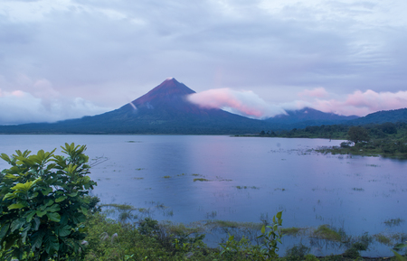 Arenal volcano standing tall in the background.