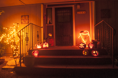 A house decorated with halloween gear