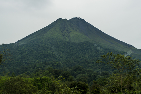 A close-up view of Arenal Volcano during green season in Costa Rica