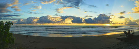 Gorgeous sunset on Playa Dominical in the sounthern part of Costa Rica
