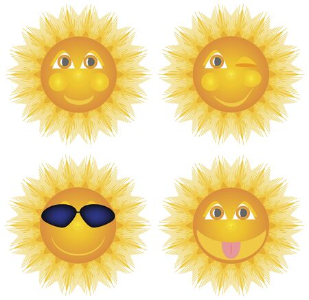 Caricature sun smiling winks in glasses shows tongue, set of vector illustrations.