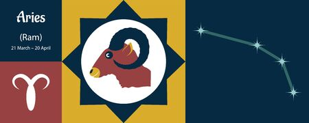 Zodiac sign Aries or ram sheep in a humorous cartoon style