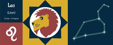 Zodiac sign Leo or lion lev in a humorous style