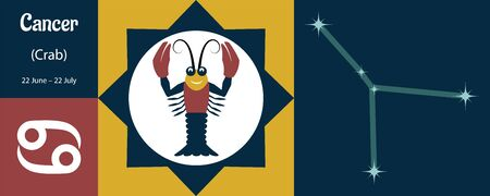 The zodiac sign Cancer or Crab in a humorous style is the designation of the constellation and the date