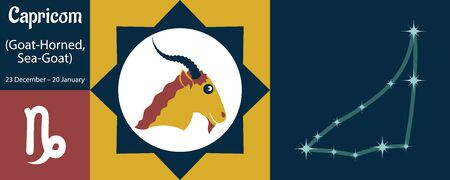 The zodiac sign capricorn or goat-horned, sea-goat in a humorous funny style