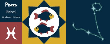 Zodiac sign pisces, or fishes in a humorous funny style