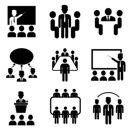 Conceptual vector illustration. Black and white icons for business meeting. Seminar signs for infographic, logo, app development and website design.  イラスト・ベクター素材