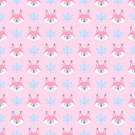 Seamless pattern with squirrel heads and leaves
