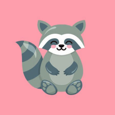 Blushing raccoon with pink background