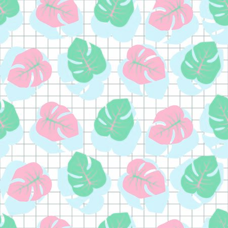 Seamless pattern with pink and teal Monstera leaves