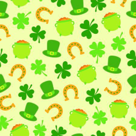 Seamless pattern with Saint Patricks Day elements
