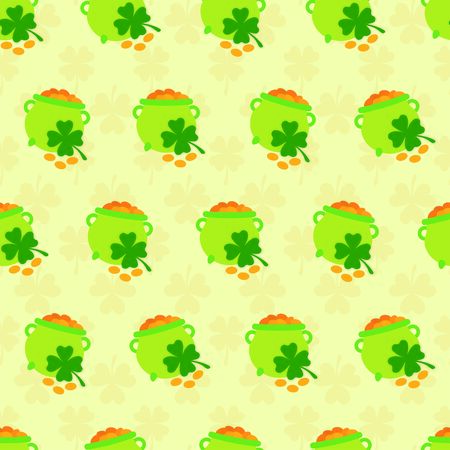 Seamless pattern with gold pots and clovers