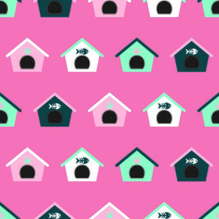 Seamless pattern with cat houses