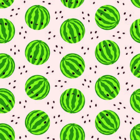 Seamless pattern with cute watermelons