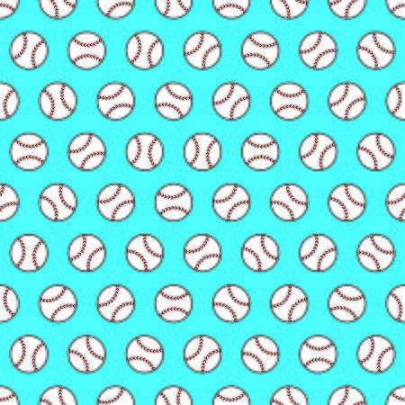 Blue seamless pattern with baseballs
