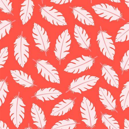 Pink seamless pattern with flamingo feathers Çizim