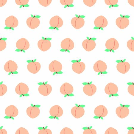 White seamless pattern with peaches
